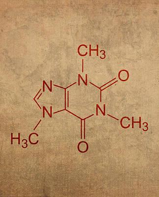 Molecule Mixed Media - Caffeine Molecule Coffee Fanatic Humor Art Poster by Design Turnpike