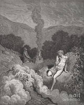 Falling Drawing - Cain And Abel Offering Their Sacrifices by Gustave Dore