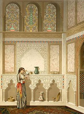 Cairo Interior Of The Domestic House Print by Emile Prisse d'Avennes