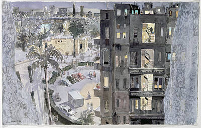 Rooftop Photograph - Cairo Night, 1996 Wc On Paper by Lucy Willis