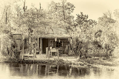 Alligator Bayou Photograph - Cajun Cabin - Sepia by Steve Harrington