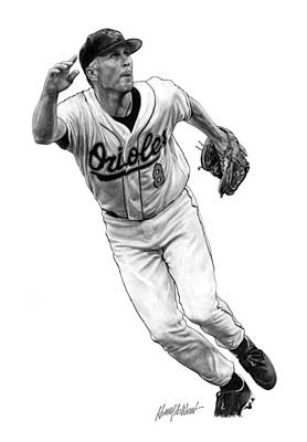 Orioles Drawing - Cal Ripken Jr I by Harry West