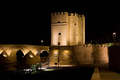 Calahorra Tower In Cordoba At Night Print by Artur Bogacki