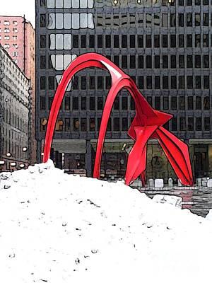 Calder Flamingo In Winter Print by David Bearden