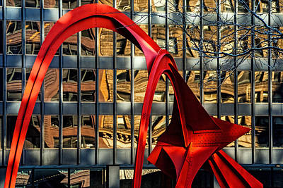 Calder Sculpture Called The Flamingo In Downtown Chicago Print by Randall Nyhof