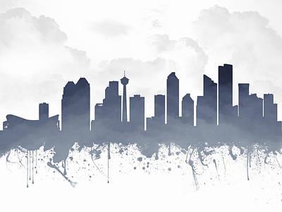 Calgary Alberta Skyline - Blue 03 Print by Aged Pixel