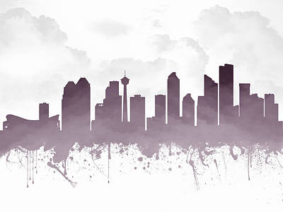 Calgary Alberta Skyline - Purple 03 Print by Aged Pixel