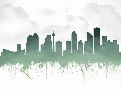 Calgary Alberta Skyline - Teal 03 Print by Aged Pixel