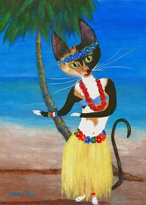 Domestic Short Hair Cat Painting - Calico Hula Queen by Jamie Frier