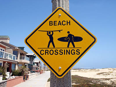 California Beach Crossing Print by Trekkerimages Photography