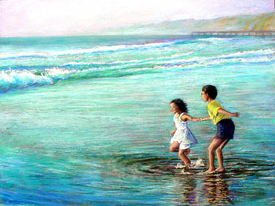 Water Play Painting - California Dream by Mary Giacomini