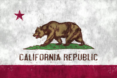 California Flag Print by World Art Prints And Designs
