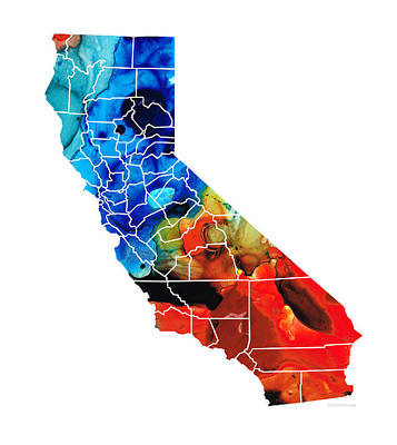 Stockton Painting - California - Map Counties By Sharon Cummings by Sharon Cummings