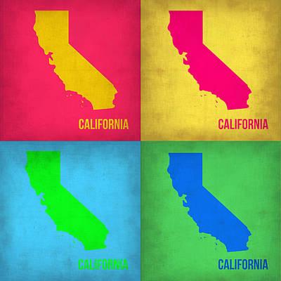 City Map Painting - California Pop Art Map 1 by Naxart Studio