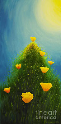 Organic Painting - California Poppies by Veikko Suikkanen