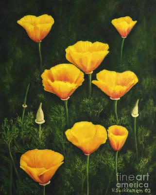 Organic Painting - California Poppy by Veikko Suikkanen