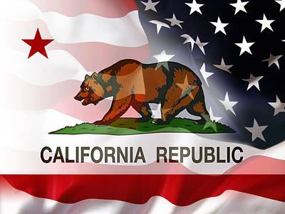 Us Flag Mixed Media - California Republic Within The United States by Daniel Hagerman