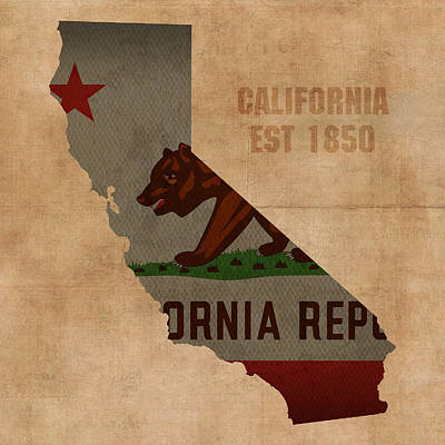 California State Flag Map Outline With Founding Date On Worn Parchment Background Print by Design Turnpike