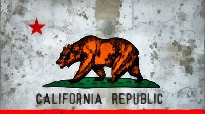 San Francisco Cali Painting - California State Flag Weathered And Worn by Dan Sproul