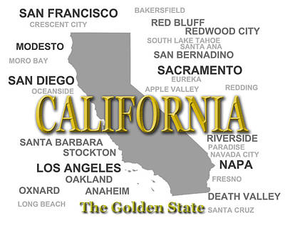 California State Pride Map Silhouette  Print by Keith Webber Jr