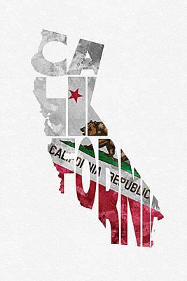 California Typographic Map Flag Print by Ayse Deniz