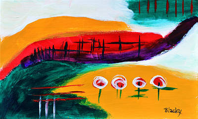 Abstract Windmill Painting - California Windmills by Donna Blackhall