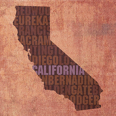 California Beach Art Mixed Media - California Word Art State Map On Canvas by Design Turnpike