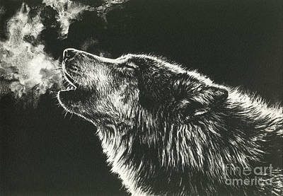 Moonlit Night Drawing - Call Of The Wild by Beth Hoselton
