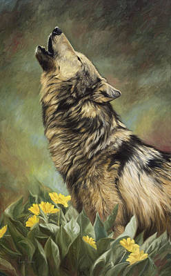 Gray Wolf Painting - Call Of The Wild by Lucie Bilodeau