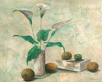 Kiwi Mixed Media - Calla Lilies And Kiwis by Sandy Clift