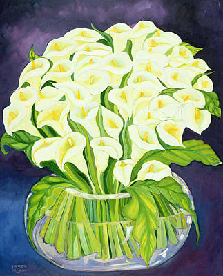 Lively Painting - Calla Lilies by Laila Shawa