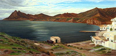 Sea View Painting - Calm Bay by Angeles M Pomata