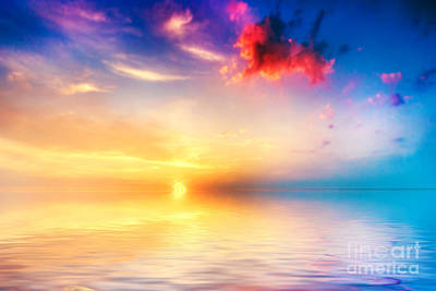 Light Photograph - Calm Sea At Sunset Beautiful Sky With Clouds by Michal Bednarek