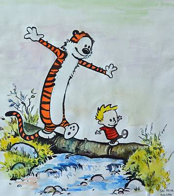 Comic Strip Painting - Calvin And Hobbes by Chapi Dee