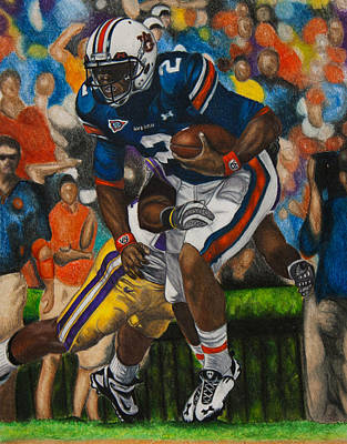 Newton Drawing - Cam Newton - Lsu by Lance Curry