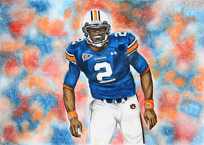 Newton Drawing - Cam Newton - Uga by Lance Curry