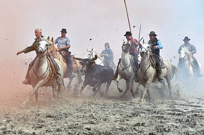 Camargue Cowboys And Bull Print by Dr P. Marazzi