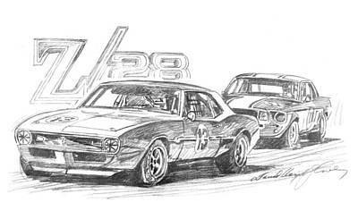 Pony Drawing - Camaro Z28 Trans Am by David Lloyd Glover