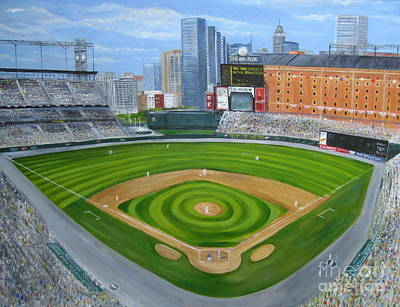 Oriole Painting - Camden Yards by Laura Corebello