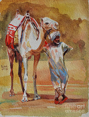 Painting - Camel And The Desert by Mohamed Fadul