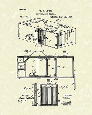Camera Drawing - Camera 1887 Patent Art by Prior Art Design