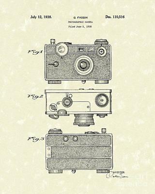 Camera Drawing - Camera 1938 Patent Art by Prior Art Design
