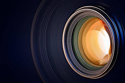 Camera Lens Background Print by Johan Swanepoel