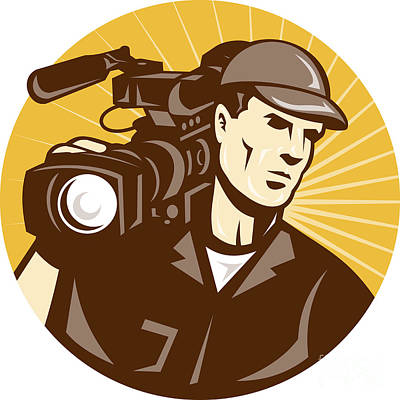 Woodcut Digital Art - Cameraman Film Crew Pro Video Movie Camera by Aloysius Patrimonio