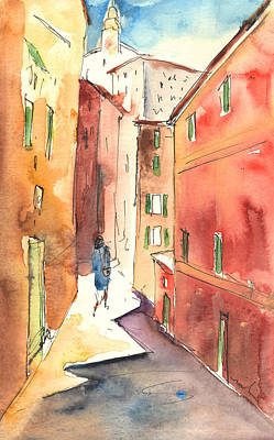 Travel Sketch Drawing - Camogli In Italy 03 by Miki De Goodaboom