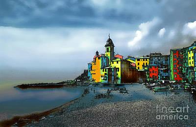 Camogli Italy Beachside Print by Linda  Parker