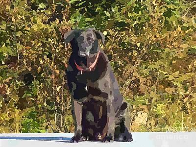 Retriever Digital Art - Camouflage Labrador - Black Dog - Retriever by Barbara Griffin
