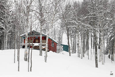 Camp In Snow Storm At Trio Ponds Print by Brett Pelletier