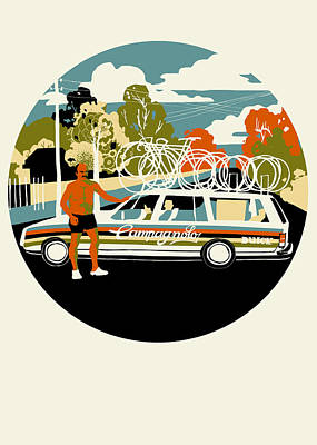 Printmaking Painting - Campagnolo Team Car by Eliza Southwood
