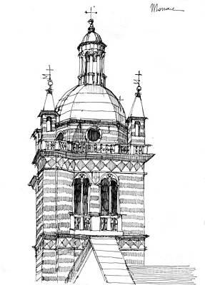 Schizzo Painting - Campanile Della Cattedrale Di Genova by Luca Massone